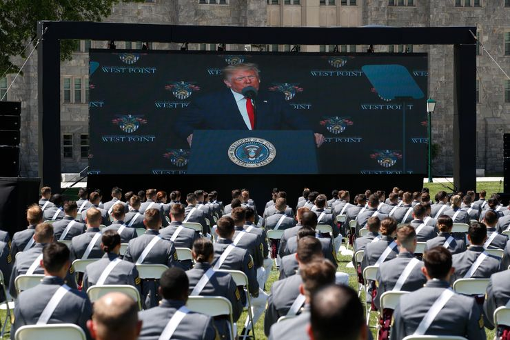 At West Point, Trump stresses unity, nation's core values