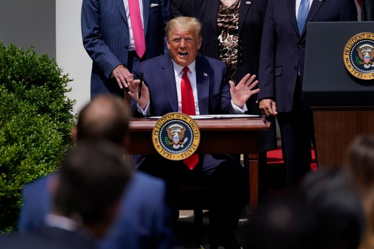 Citing jobs, Trump claims victory over virus, econ collapse